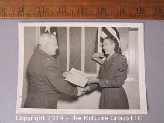 Photo: Historic: Military: WWII; female technical Sergent receiving award (identified)