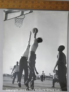 Photo: Rickerby: Historic: Americana: possibly ASIAN servicemen playing pick-up basketball location unknown