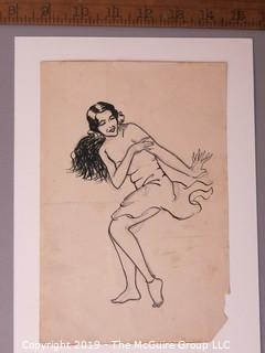 Paper: Art: Pencil sketch: Hula girl