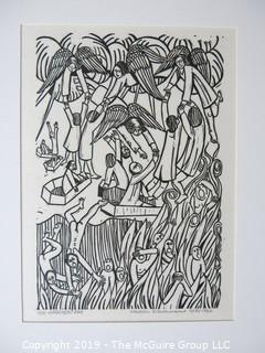 "Art: Martin Silverman (1950- ): Titled ""Judgement Day""; # 1/50 and pencil signed 9/5/1966; paper size: 11 x 13; image size 5 x 7"""