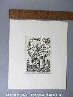 "Paper: Art: Martin Silverman:""Job and His Comfortors"" numbered and pencil signed 9/16/1966; paper size: 11 x 13""; image size 5 x 7"""