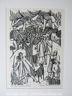 "Paper: Art: Martin Silverman Art; ""The Disciples Disperse"" numbered and pencil signed 9/12/66; paper size: 11 x 13"" ; image size 5 x 7"""