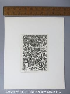 "Paper: Art: Martin Silverman; ""Daniel 9/4-7,19"" numbered and pencil signed 8/17/66; paper size: 11 x 13""; image size 5 x 7"""