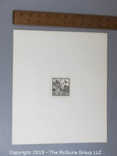 "Paper: Art: Martin Silverman; ""Isaiah"" numbered and pencil signed 7/5/66; paper size: 11 x 13""; image size 2 1/2 x 2 1/2"""