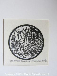 "Paper: Art: Martin Silverman; ""Matthew"" numbered and pencil signed 7/24/66; paper size: 11 x 13""; image size 2 x 2"""