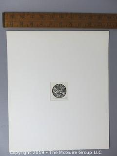 """Paper: Art: Martin Silverman; """"Psalms 1-2,8"""" numbered and pencil signed 7/28/66; paper size: 11 x 13""""; image size 2 x 2"""""""