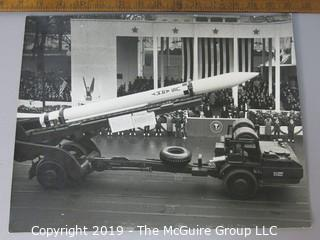 Photo: Arthur Rickerby; Historical: Eisenhower Inauguration Parade 1953 early US Army rocket on transport in parade; White House in background