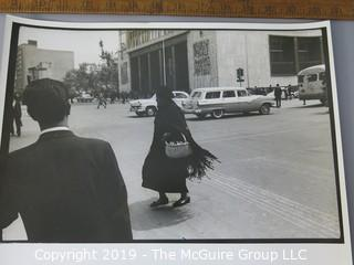 Photo: Large Format B&W: Arthur Rickerby: Historic: Life Mag: South America trip: Woman in black on the street