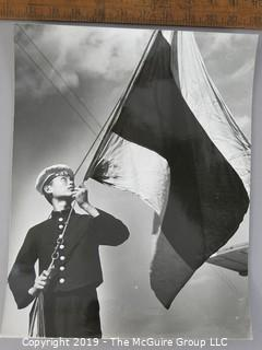 Photo: Large Format B&W: Arthur Rickerby: Historic: Americana: post-WWII: Chinese seaman raising flag