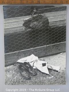 Photo: Large Format B&W: Arthur Rickerby: Historical: Americana: Baseball: Boy's belongings by fence, USMC gym bag, Poignant Saying