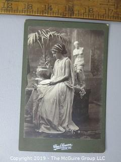 Photo: credited: Art: Historical; Cabinet Card; Classical Greek female in diorama