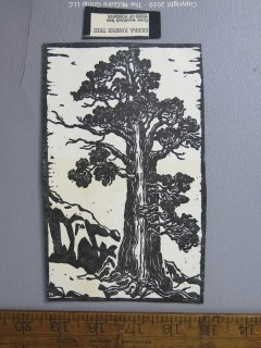 Paper: Art: Woodblock: Sierra Juniper Tree.  Believe by TMG to be an original imprint, but with imperfections.  Not the book cover. {Note: Description altered Oct 1 at 3:22pm ET}