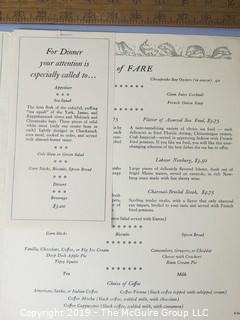 Paper: Historical: Americana: vintage menus