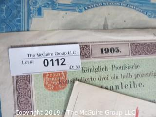 Paper: Historic: Americana: bank certificates and ledger sheets