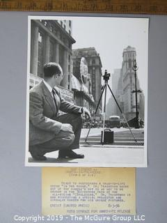 Photo: Historical: Rare: UPI:  Dr. Eugene Trachtman shows his 360-degree camera. Includes 4 iconic circular prints of downtown NYC incl the Flatiron Building on Fifth Avenue. 3Aug1956