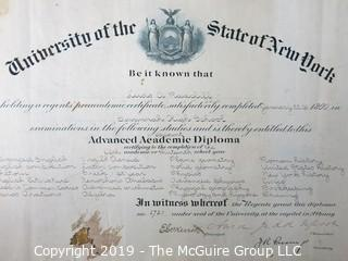 Paper: Historical: Americana: Education: 1900 diploma from the University of the State of New York (missing seal)