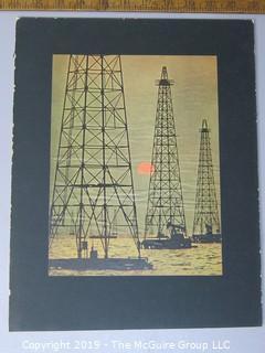 Photo: Rickerby: Historic: Art: Life Mag: color photo of oil wells presumably in Lake Maracaibo Venezuela
