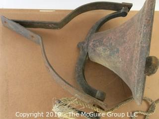 Collectable: Americana: Cast iron farm bell with brackets #3