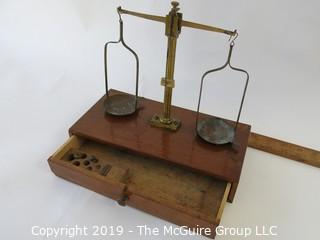 Historical: Vintage travel brass balance scale. For gold, coins, medicine. Missing most of the weights.
