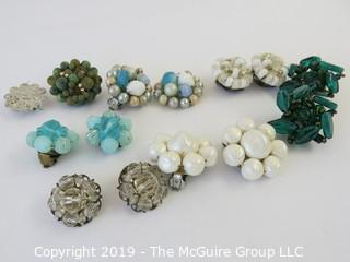 Jewelry: 6 pair of vintage cluster style earrings from various countries, 1 orphan