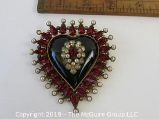 Jewelry: Quality:::Post-war Copy of Russian Empress's Jewel Brooch. Heart with pear (faux) shaped rubies, pearls and diamonds. By Fashioncraft - Robert #122 read more