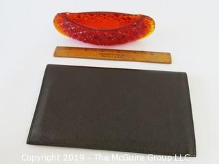 WYSIWYG Ruby red L.E. Smith art glass canoe and traveler's wallet