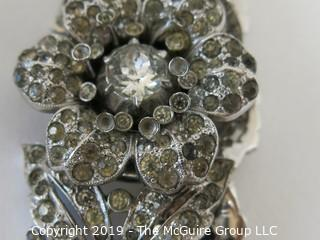 Jewelry: Asst of 1955 Trifari costume jewelry, incl. brooch, earrings and bracelet rhinestone BLING!
